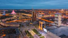 Day to night panoramic view of the Astana city with the Khan Shatyr building Stock Footage