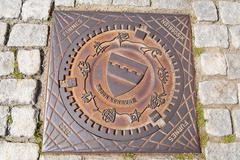 Stock Photo of Exterior of the decorated sewer manhole in Frogn, Norway.