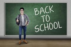 Male trendy student back to school Stock Photos