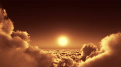 4k night flight in clouds mass,moon & heaven sky,high altitude outer space. Stock Footage