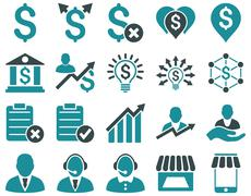 Stock Illustration of Trade business and bank service icon set