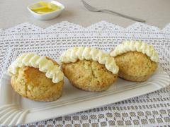 Cupcake with lemon frosting ruffle - stock photo
