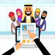Arab Curriculum Vitae Recruitment Candidate Job Position Stock Illustration