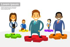 Business People Group Standing on Puzzle Piece - stock illustration