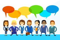 Business Cartoon People Group Talking Discussing Chat - stock illustration
