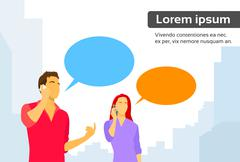 Couple Man and Woman Smart Phone Talk Chat Box Communication - stock illustration