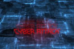 Cyber attack written background. - stock illustration