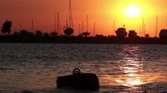 City harbor sunset Thessalonica Stock Footage