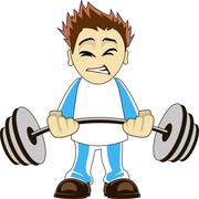 Cartoon bodybuilder - stock illustration