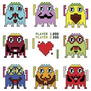 Pixelated hipster robot emoticons with simple hitting ball game Stock Illustration