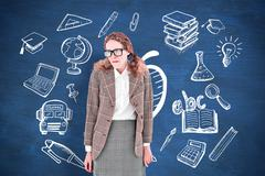 Composite image of geeky hipster woman looking nervous Stock Photos