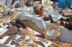 Flea market with old wooden items Stock Photos