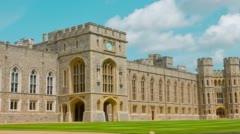 Medieval Windsor Castle in England Stock Footage