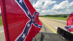 Confederate Flag on Truck Stock Footage