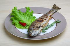 Grilled trout - stock photo