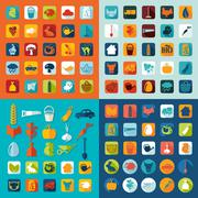 Set of agriculture icons - stock illustration