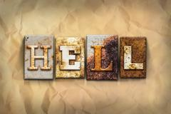 Hell Concept Rusted Metal Type Stock Photos