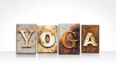 Yoga Letterpress Concept Isolated on White Stock Photos