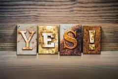 Yes Concept Letterpress Theme - stock photo