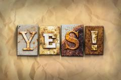 Yes Concept Rusted Metal Type - stock photo