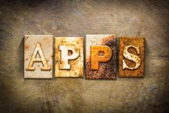 Apps Concept Letterpress Leather Theme - stock photo