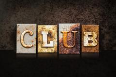 Club Letterpress Concept on Dark Background - stock photo