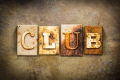 Club Concept Letterpress Leather Theme - stock photo