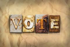 Vote Concept Rusted Metal Type - stock photo