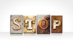 Stop Letterpress Concept Isolated on White Stock Photos