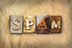 Spam Concept Rusted Metal Type - stock photo