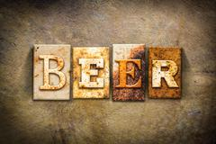 Beer Concept Letterpress Leather Theme - stock photo