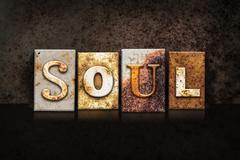 Soul Letterpress Concept on Dark Background Stock Photos