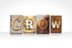 Grow Letterpress Concept Isolated on White Stock Photos