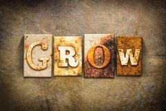 Grow Concept Letterpress Leather Theme Stock Photos