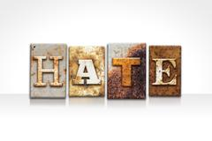 Hate Letterpress Concept Isolated on White - stock photo