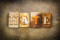Hate Concept Letterpress Leather Theme - stock photo