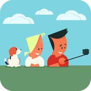 Stock Illustration of Couple taking selfie.