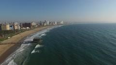 Aerial of Durban Coastline - stock footage