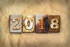 2018 Concept Rusted Metal Type - stock photo