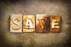 Save Concept Letterpress Leather Theme - stock photo