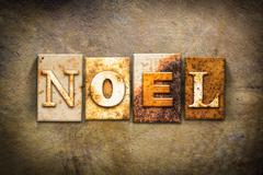 Noel Concept Letterpress Leather Theme - stock photo