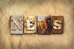 News Concept Rusted Metal Type - stock photo