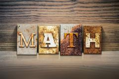 Math Concept Letterpress Theme Stock Photos