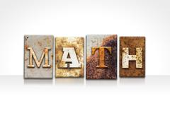 Math Letterpress Concept Isolated on White - stock photo