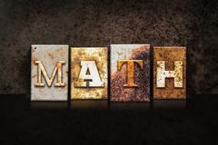 Math Letterpress Concept on Dark Background - stock photo