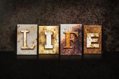 Life Letterpress Concept on Dark Background - stock photo