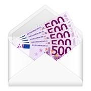 envelope and five hundred euro banknotes - stock illustration