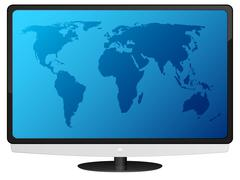 lcd tv with world map - stock illustration