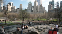 Panoramic view of Central Park, New York. Horizontal motion of Camera. Stock Footage