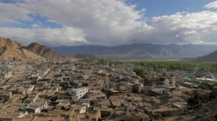 TIMELAPSE Leh town seen from palace,Leh,Ladakh,India Stock Footage
